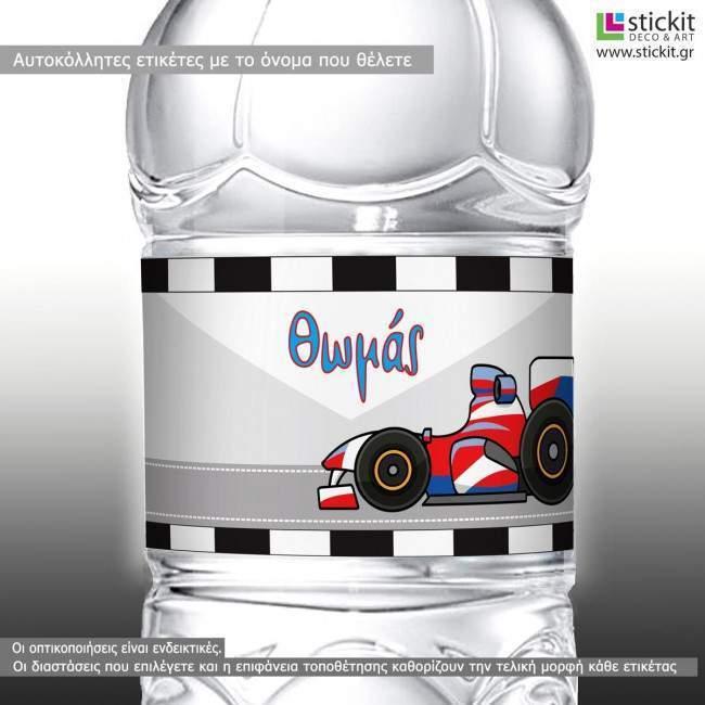 Sticker label Formula 1 cartoon car,