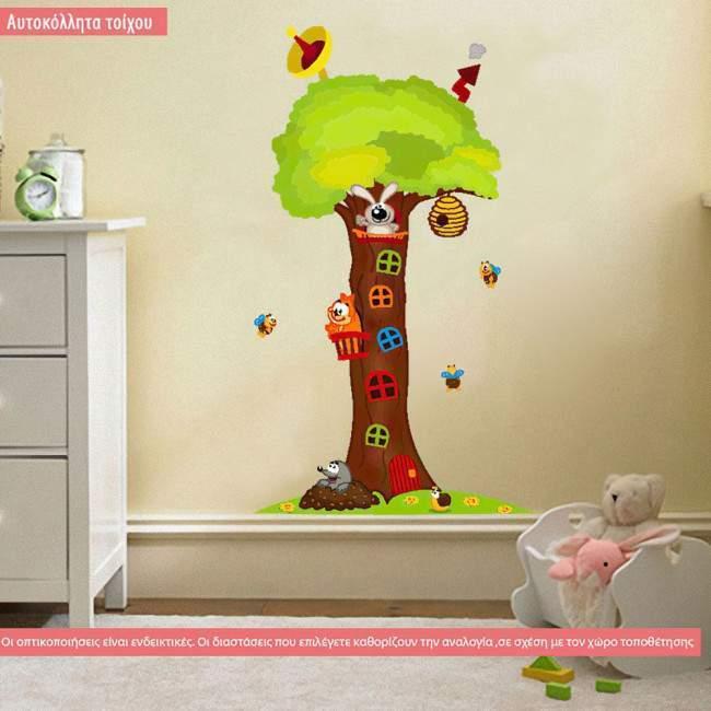 Αυτοκόλλητα τοίχου παιδικά Δεντρόσπιτο