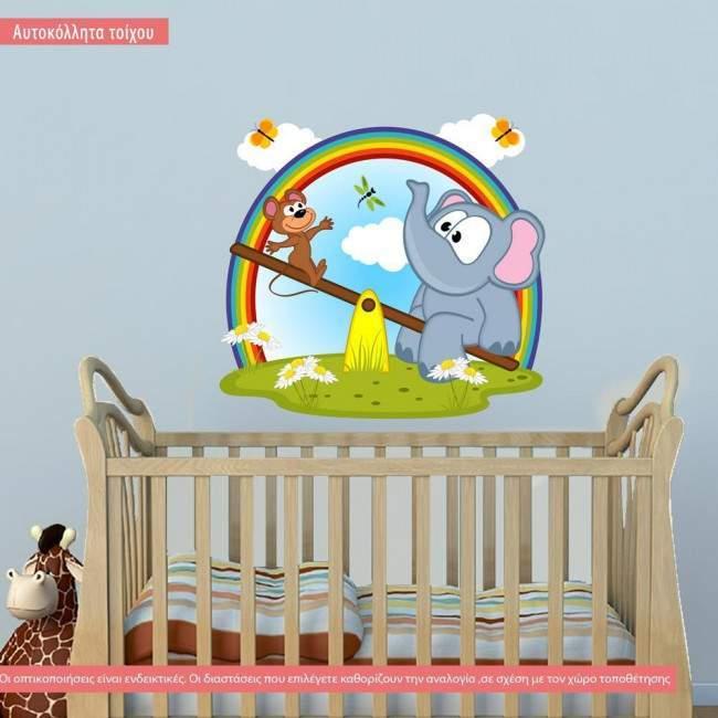 Αυτοκόλλητα τοίχου παιδικά ελεφαντάκι, μαιμουδάκι, τραμπάλα.