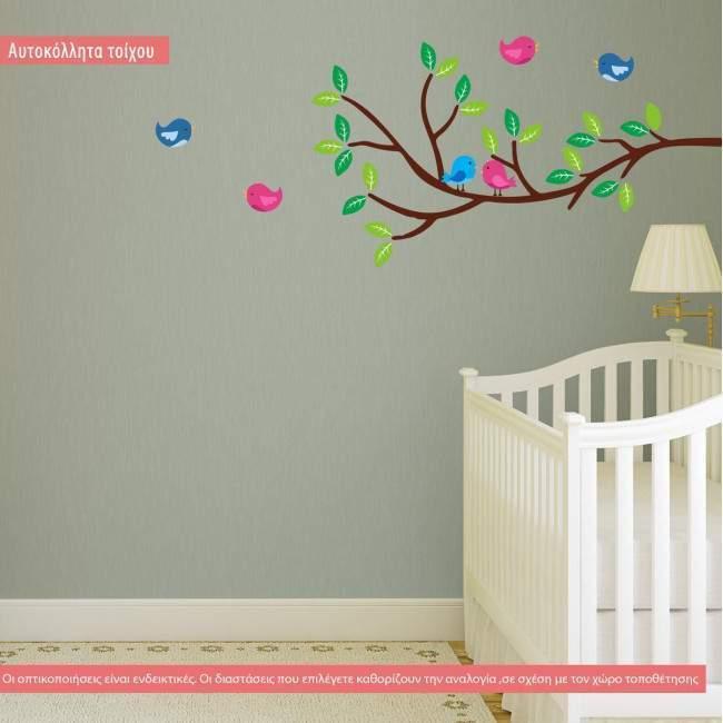 Αυτοκόλλητο τοίχου κλαδί και πουλάκια, Birds corner