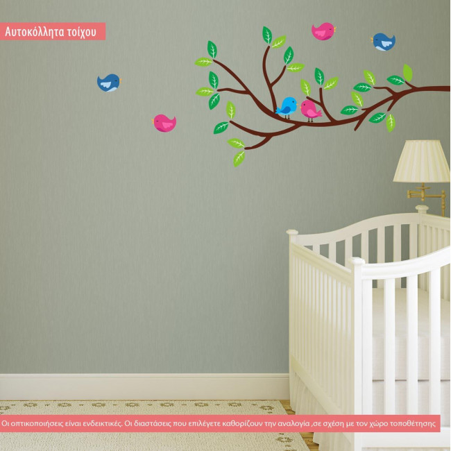 Wall stickers branch and birds, Birds corner