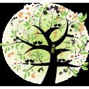 Δέντρο με πεταλούδες ,αστέρια και πουλιά | Αυτοκόλλητο τοίχου , κοντινό