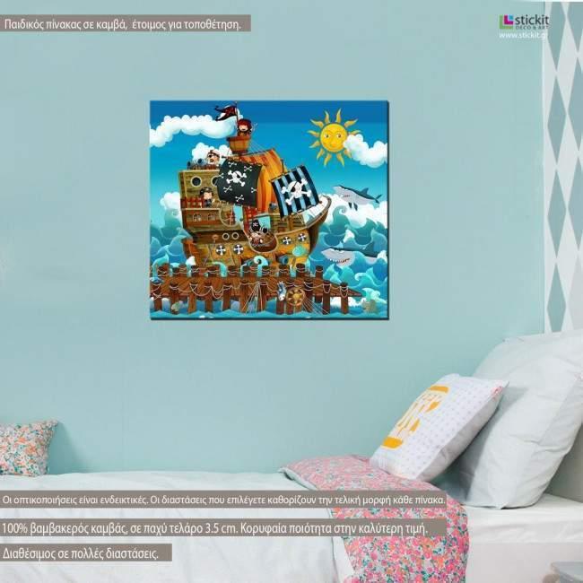 Πίνακας παιδικός σε καμβά Pirate ship