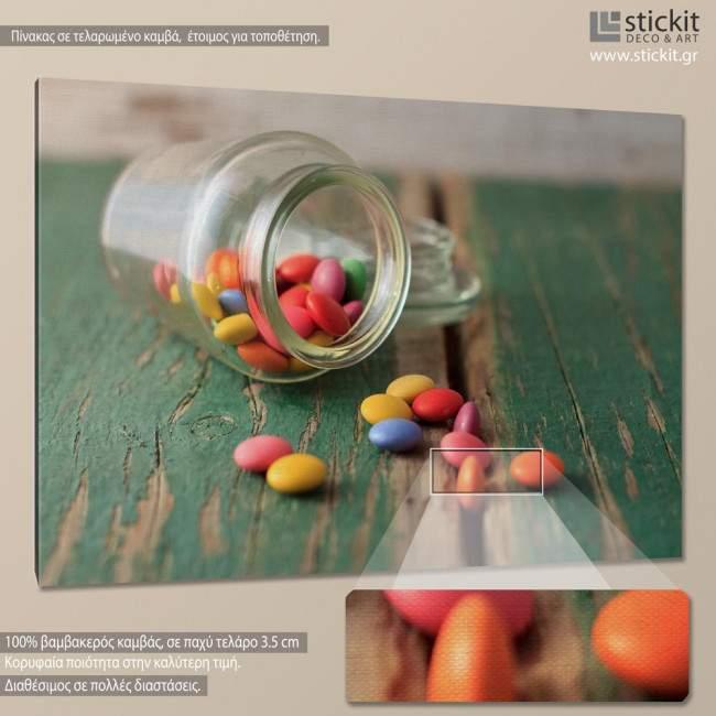 Canvas print Smarties in jar