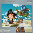 The pirates, treasure hunt, παιδικός - βρεφικός πίνακας σε καμβά, κοντινό