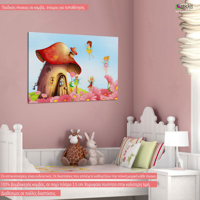 Kids canvas print House with fairies