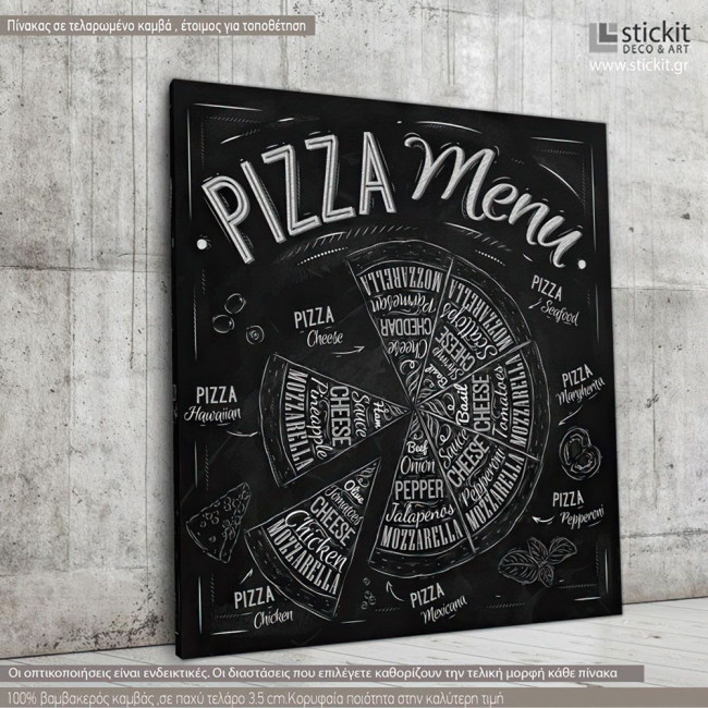 Canvas print Pizza menu