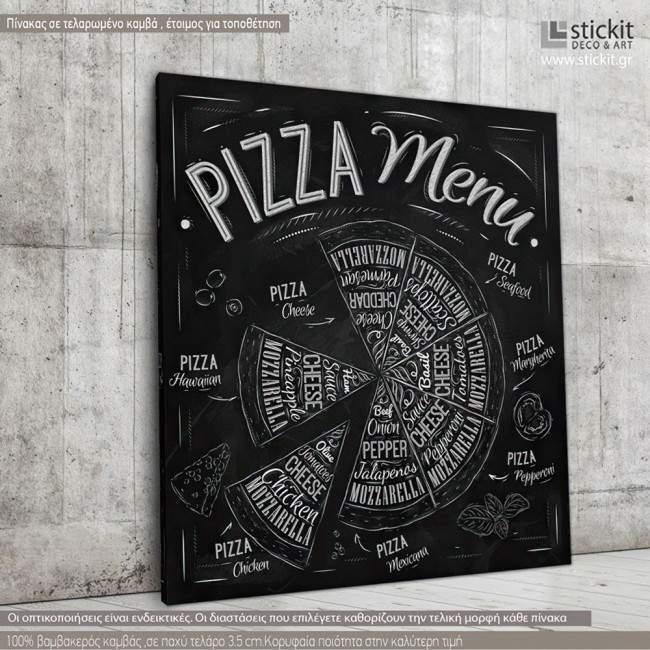 Πίνακας σε καμβά Pizza menu
