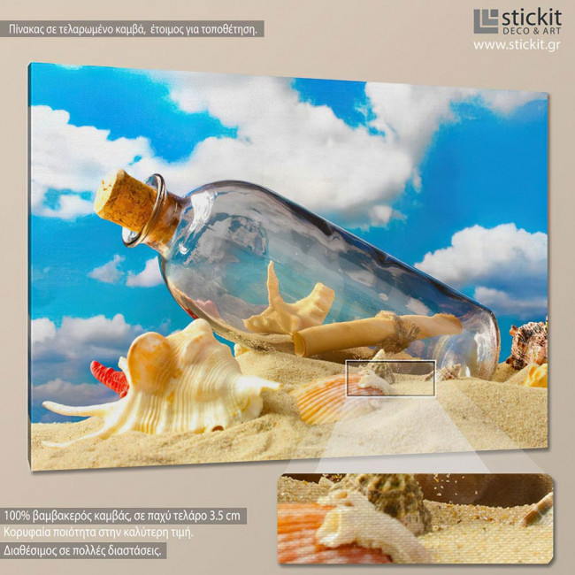 Canvas print Message in a bottle
