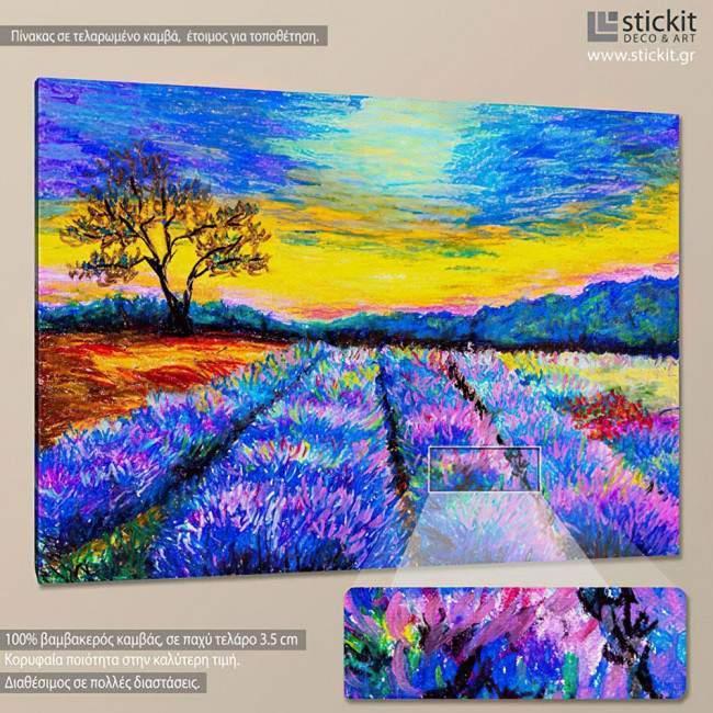 Πίνακας σε καμβά Λεβάντα, Lavender field at Provence