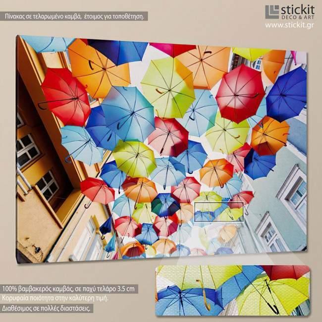 Πίνακας σε καμβά Ομπρέλες, Colored umbrellas