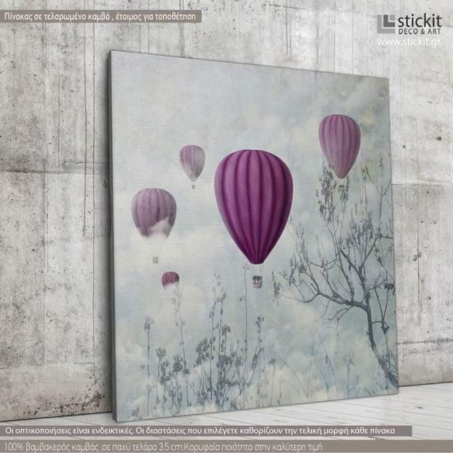 Πίνακας σε καμβά Balloons in the clouds
