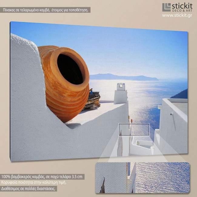 Canvas print View out to sea - Santorini, Oia