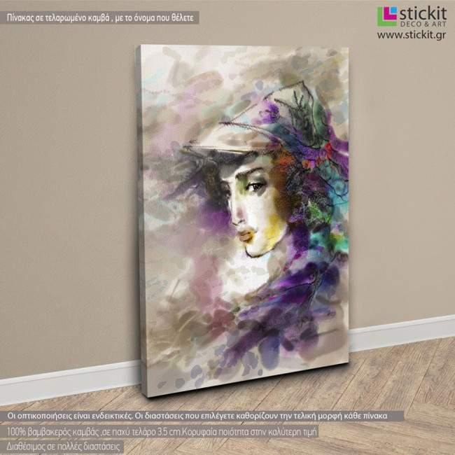 Πίνακας σε καμβά Beautiful woman in a hat