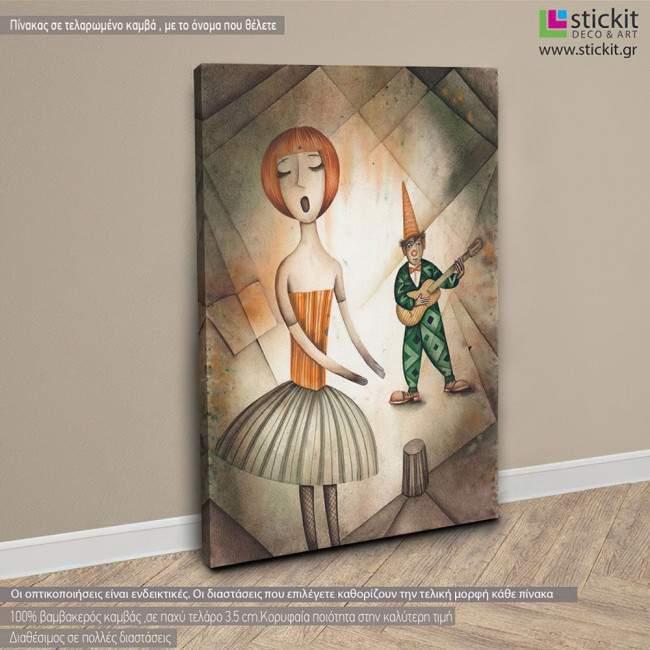 Πίνακας σε καμβά Singer and harlequin