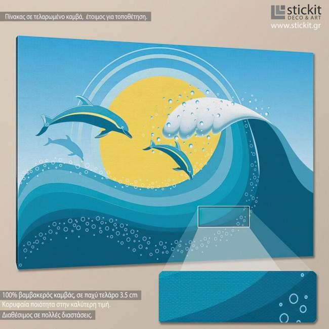 Πίνακας σε καμβά Δελφίνια στη θάλασσα, Dolphins at sea