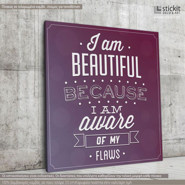 Canvas print I am beautiful