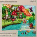 Πίνακας παιδικός σε καμβά Bug life, ζουζούνια στο ποτάμι
