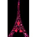 Ερωτας στον πύργο του Αιφελ Μαύρο | Αυτοκόλλητο τοίχου, κοντινό