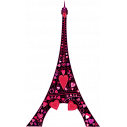 Wall stickers Eiffel Tower, colorful  hearts