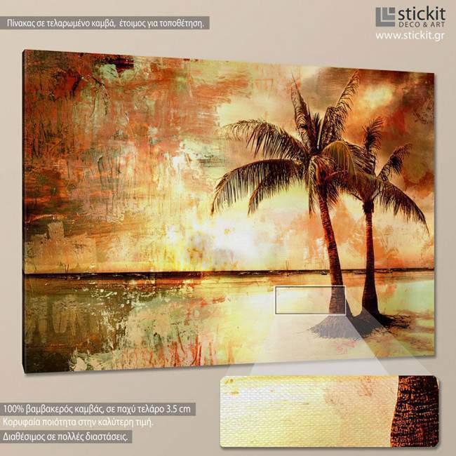 Πίνακας σε καμβά Φοίνικες, Palm trees vintage