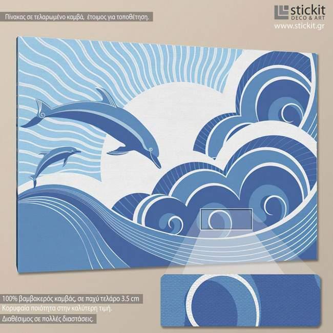 Πίνακας σε καμβά Δελφίνια, Dolphins in the sea