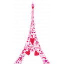 Wall stickers pink tower and hearts. Love at the Eiffel Tower