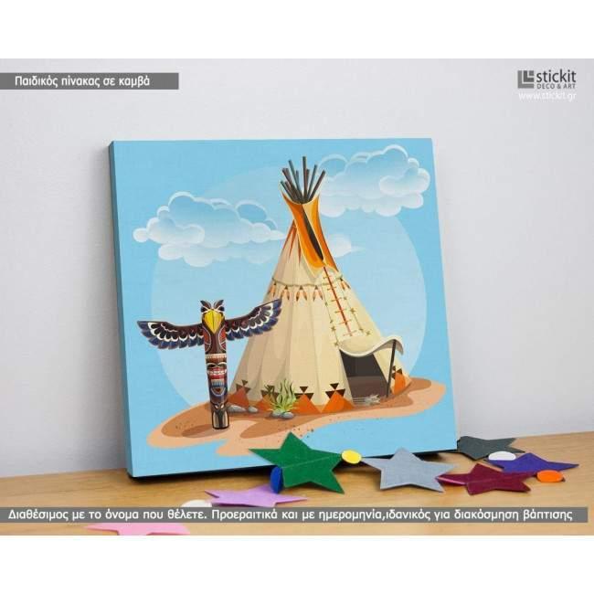 Πίνακας παιδικός σε καμβά Indian tent and totem