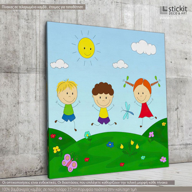 Kids canvas print Playing in the meadow