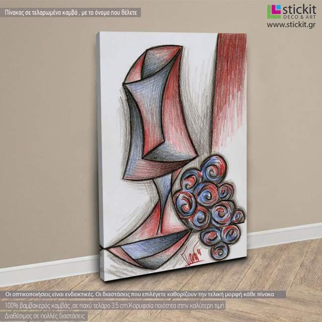 Πίνακας σε καμβά Glass with grape