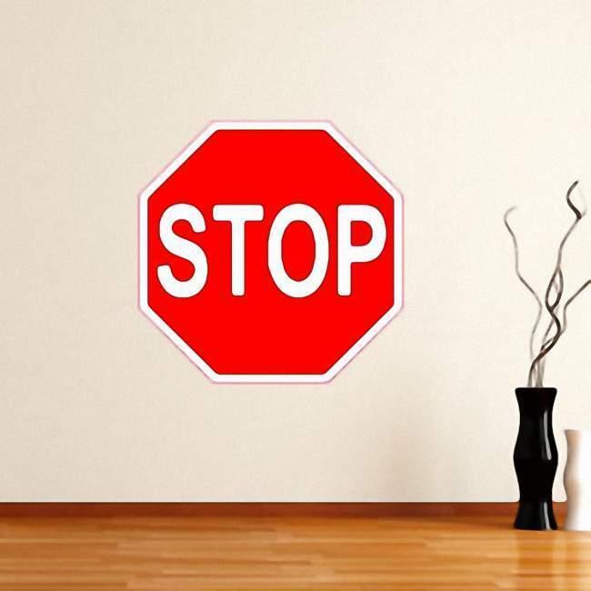 Αυτοκόλλητο τοίχου πόρτας. Πινακίδα,  Stop