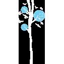 Design tree,  λευκό - γαλάζιο με πουλιά, αυτοκόλλητο τοίχου, κοντινό