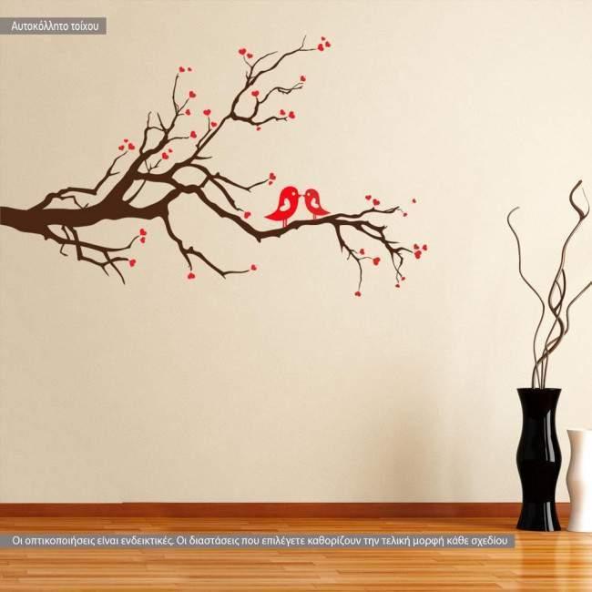Αυτοκόλλητα τοίχου Ερωτευμένα πουλιά (Καφέ - Κόκκινο)