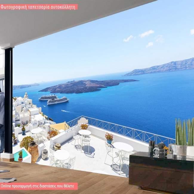Wallpaper Santorini harbor view
