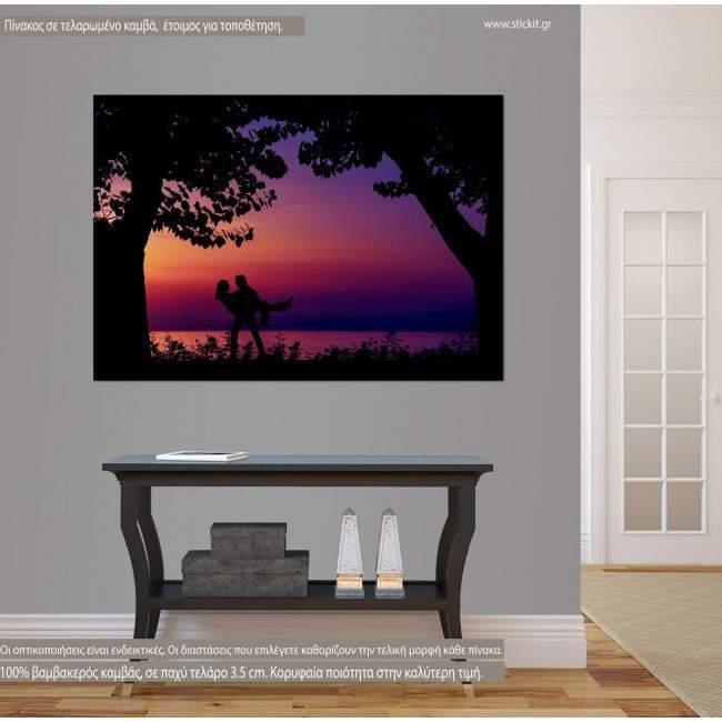 Πίνακας σε καμβά Ζευγάρι στο ηλιοβασίλεμα, Sunset lovers