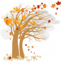 Φθινοπωρινό δέντρο με σύννεφα, αυτοκόλλητο τοίχου, κοντινό