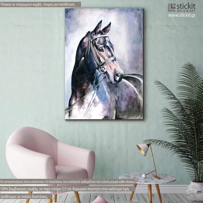 Πίνακας σε καμβά Black horse watercolors