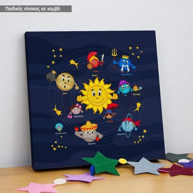 Πίνακας παιδικός σε καμβά Ηλιακό σύστημα