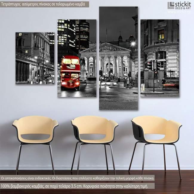 Canvas print London bus, four panels