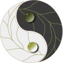 Γιν και  Γιάνγκ , gray Αυτοκόλλητο τοίχου , κοντινό