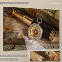 Vintage compass telescope and map, πίνακας σε καμβά, κοντινό