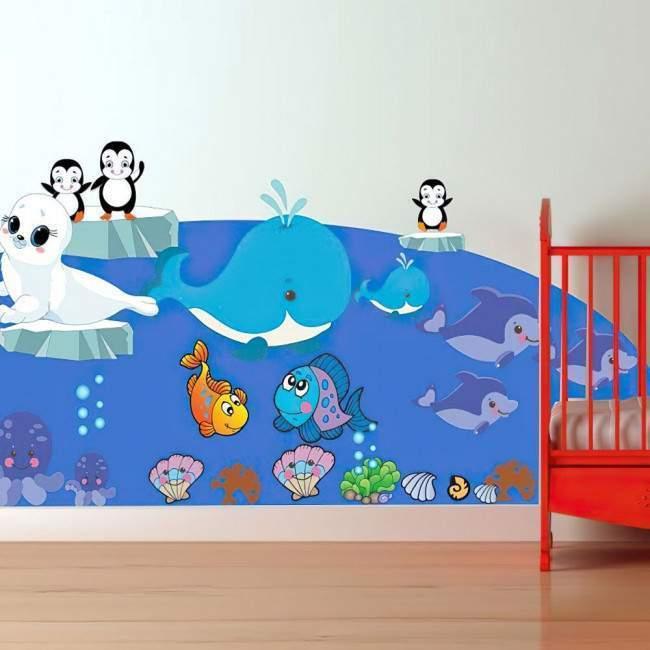 Αυτοκόλλητα τοίχου παιδικά Φάλαινα, πιγκουίνοι, φώκια, δελφίνια, Ζωάκια της θάλασσας