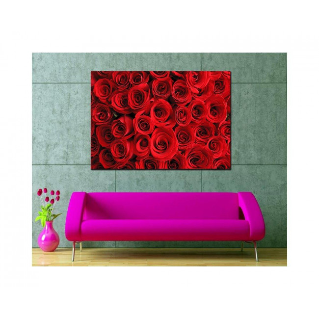 Canvas print Red roses bouqet