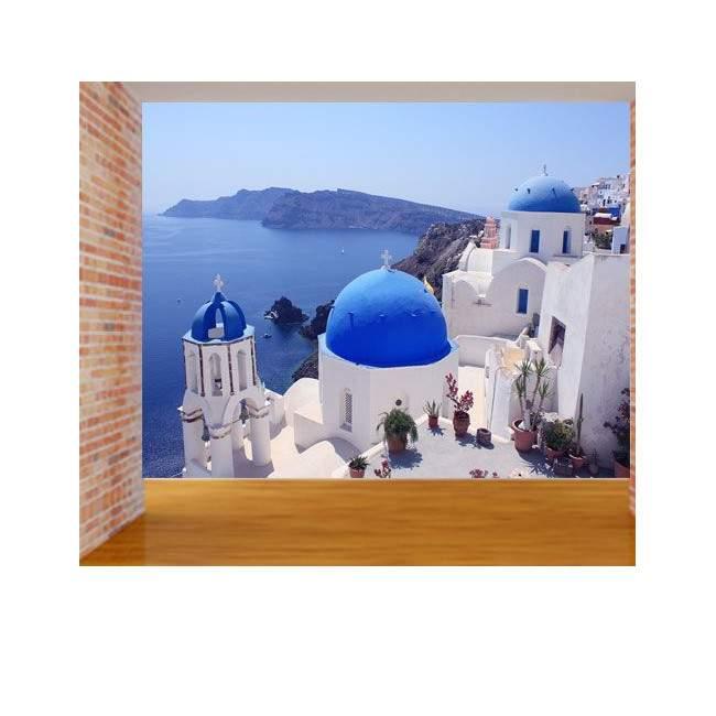 Ταπετσαρία τοίχου Σαντορίνη, γαλάζιο και λευκό