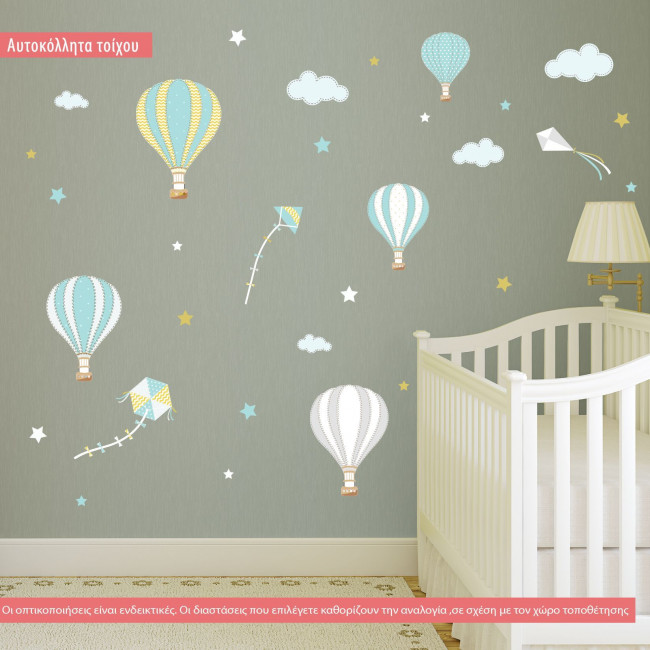 Kids wall stickers  Balloons in the night sky