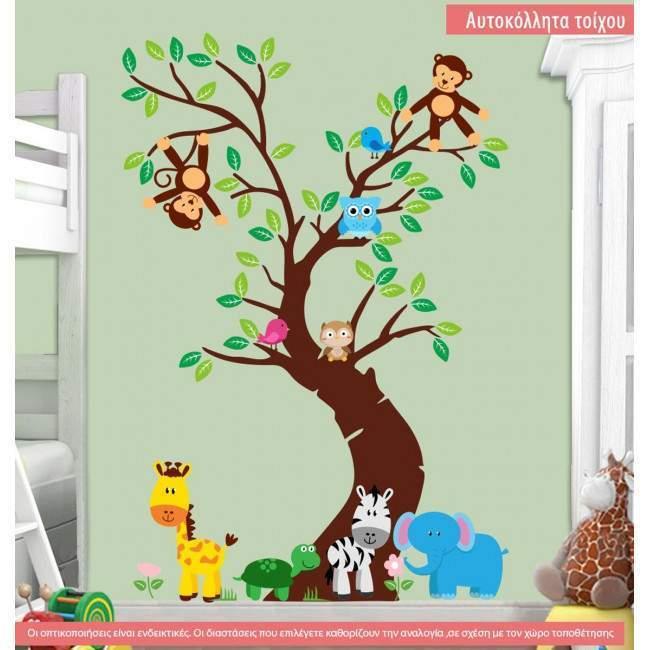 Αυτοκόλλητα τοίχου παιδικά ζωάκια ζούγκλας στο δέντρο, Jungle time (κάθετο) ολόκληρη παράσταση