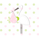 Kids wall stickers Stork with a baby 2