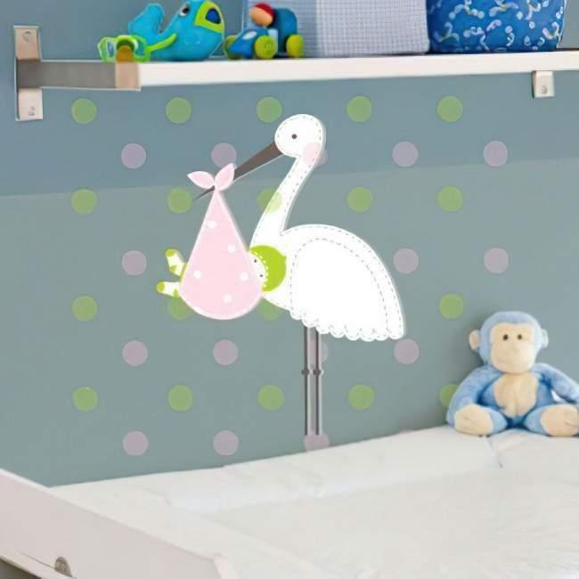 Αυτοκόλλητα τοίχου παιδικά Πελαργός με μωράκι 2