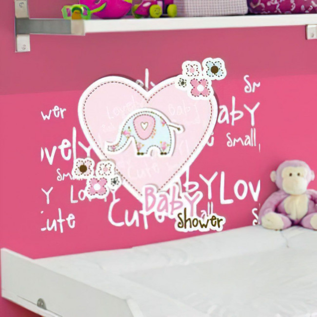 Αυτοκόλλητα τοίχου παιδικά Ελεφαντάκι & καρδιά