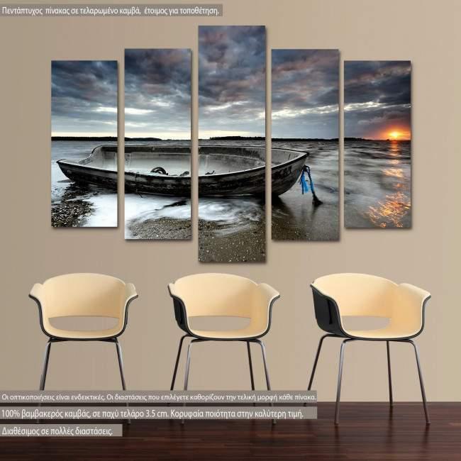 Canvas print Abandoned boat five panels